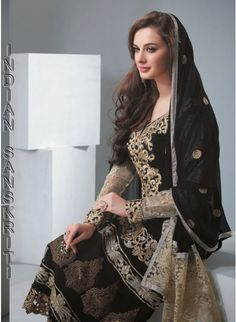 Elegant black with gold georgette straight #suit with resham, zari, lace & patch work