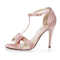 Luichiny Piper Zoe Blush Satin Rhinestone T-Strap Heels ($5,250) ❤ liked on Polyvore featuring shoes, pumps, heels, stiletto high heel shoes, prom shoes, stilettos shoes, shiny shoes and wrap shoes