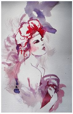 watercolour, fashion illustration