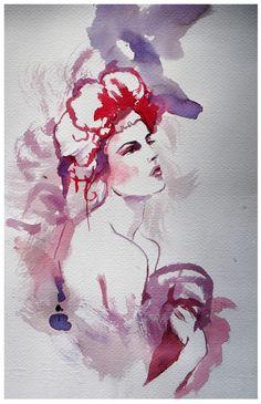 watercolour, fashion illustration