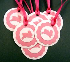 6 Bunny Tag. Pink and White Bunny or Rabbit by buttonsbyrobin3