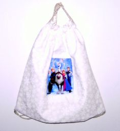 Custom Made Disney Frozen Backpack Drawstring Bag with All Characters, Olaf, Sven Hans, Kristoff, Anna and Elsa