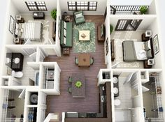 50 Two Bedroom Apartment& Plans Apartment Layout, 2 Bedroom Apartment, Apartment Design, Small House Plans, House Floor Plans, Plans Loft, 2 Bedroom House Plans, Apartment Floor Plans, House Layouts