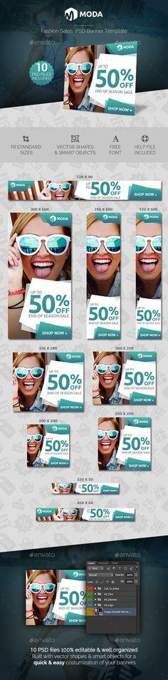 Moda - Fashion Sales Banner Template PSD #ads