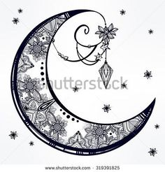Intricate hand drawn ornate crescent moon with feathers, gemstones Isolated Vector illustrationTattoo art, astrology, spirituality, alchemy, magic symbol Ethnic, mystic tribal  element for your use