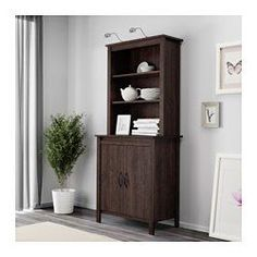IKEA - BRUSALI, High cabinet with doors, brown, , Adjustable shelves, so you can customize your storage as needed.