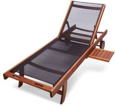 This handsome, well-made chaise is tailor-made for soaking up the sun or relaxing by the pool. A unique tray table extends to hold drinks, magazines, and other lounging essentials, then slides back underneath for storage. The back adjusts to five positions–from fully-upright to completely-reclined. The seat and back are made from tightly-woven, water-resistant black textilene fabric. Rust-resistant hardware and mortise-and-tenon construction add to the piece's strength and durability.