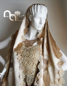 Eastern style in gold. Necklace and scarf designed and handmade from manually perforated fabric by Natalia Alexandrova. www.fb.com/nataliaalexandrova.rsa