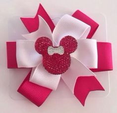 White And Fuchsia w/ Bling Minnie Mouse Resin Center Hair Bow (see variations) #Handmade