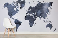 Watercolour World Map Wall Mural This sophisticated wallpaper mural is the perfect artistic feature for any room calling out for attention. The delicate design flows gracefully along any wall, arousing elegance and making it ideal for a livi World Map Wall Decal, World Map Decor, Kids World Map, World Map Wallpaper, World Map Wall Art, Wall Maps, Wall Mural, World Map Painting, Water Color World Map