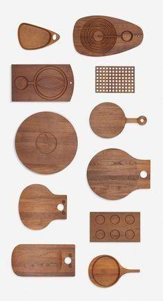 Scandinavian collection of eleven boards, c. Diy Cutting Board, Wood Cutting Boards, Wood Projects, Woodworking Projects, Wood Crafts, Diy And Crafts, 3d Laser Printer, Kitchen Board, Wooden Kitchen
