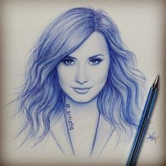 Demi Lovato drawing, awesome, This looks amazing. Amazing Drawings, Beautiful Drawings, Colorful Drawings, Cool Drawings, Pencil Drawings, Demi Lovato, Celebrity Drawings, Sketch Inspiration, Portraits