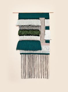 """""""Something about the sun filled days, lush green surroundings of our new LA home, and my new life seemed to align with weaving so perfectly, and it stuck,"""" Jung says. Weaving Textiles, Weaving Art, Tapestry Weaving, Loom Weaving, Hand Weaving, Wet Felting, Textile Design, Textile Art, Woven Wall Hanging"""