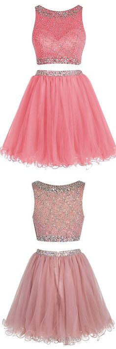 Two Piece Prom Dresses Pink, Short Prom Dresses For Teens 2018, A-line Party Dresses Scoop Neck, Tulle Cocktail Homecoming Dresses Beading