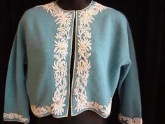 Vintage 50s Hong Kong Beaded Turquoise Cashmere Sweater Jacket Pearl Bead Work   eBay