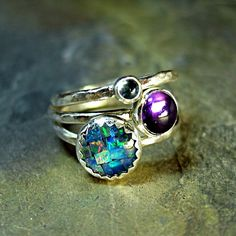 Sterling Silver Stacking Rings - Party of Three    ...from Lavender Cottage Jewelry