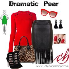 The bright red of this ribbed sweater with button details definitely catches your eye! The pencil skirt with fringe detail should fall straight from the hip for the proper balance and symmetry. (The skirt in the pic tapers in toward the knee, which is a no-no, but is offered for Style Personality example.) Tassel earrings draw the eye, and by carrying the leopard print bag in the crook of your arm, you'll keep the the attention up by your face. Except, of course, if someone wants to check…