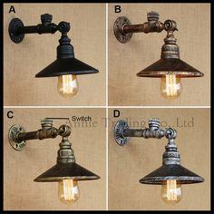 Vintage style industriel Edison conduite d eau mur de fer lampe dia