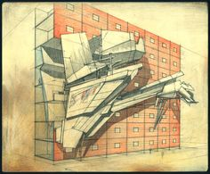 Lebbeus Woods: Sarajevo, from War and Architecture, 1993; graphite and colored pencil on board; 10 5⁄8 x 12 7⁄8 in. (Image: © Estate of Lebbeus Woods)