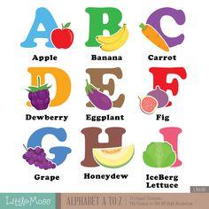 Alfabeto A-z Digital Clipart hortalizas y frutas abecedario | Etsy