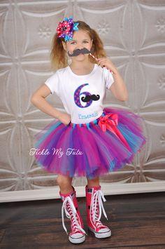 Girly Mustache Bash Birthday Tutu Outfit on Etsy, $54.95