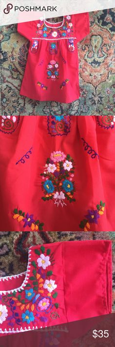 """Mexican Dress Baby Handmade in MX and sourced by a woman owned business! Machine washable! 9.25"""" underarm to underarm and 15.75"""" L costume baldor Dresses Casual"""