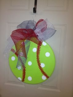 Softball Wreath for my bedroom door  Put name and number and can take it when I travel