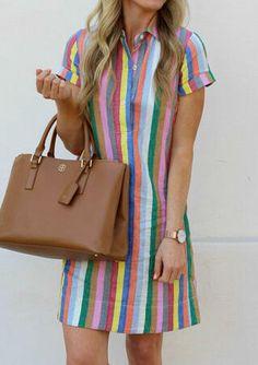 Striped Shirt Dress, Mini Shirt Dress, Button Dress, Casual Dresses, Fashion Dresses, Casual Outfits, Women's Fashion, Female Fashion, Fashion Clothes