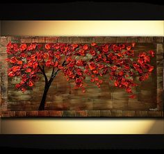 MADE-TO-ORDER 48 Abstract Contemporary Red by OsnatFineArt on Etsy