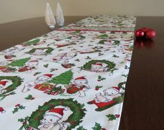 Retro Mid Century Holiday Kewpie Table Runner, Hand Made by Tiki Queen