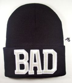 2100a3328ce Ashlei Shannon BAD Graphic Beanie - White On Black. Shop Winter Beanies  With Words.