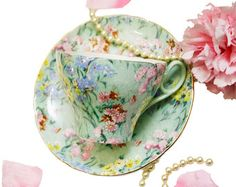 Vintage Shelley Teacup Melody Pattern, Mint Green Floral Chintz Teacup, English Bone China