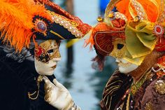 The Carnival of Venice is an annual festival, held in Venice, Italy. The Carnival ends with the celebration of Lent, forty days before Easter on Shrove Tuesday (Martedi' Grasso or Mardi Gras). The festival is world-famed for its elaborate masks. Venetian Carnival Masks, Carnival Of Venice, Rio Carnival, Carnival Costumes, Venice Carnivale, Les Twins, Cayman Islands, Island Travel, Pictures Of Venice