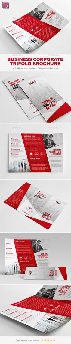 Business Corporate Trifold Brochure - Corporate Brochures http://graphicriver.net/item/business-corporate-trifold-brochure/10353710?WT.ac=portfolio&WT.z_author=Snowboy