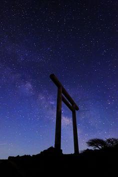 Torii and Milky Way, Mount Zao, Miyagi, Japan