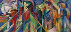 Franz Marc, Stables, 1913. Oil on canvas, 29 x 62 inches (73.6 x 157.5 cm)