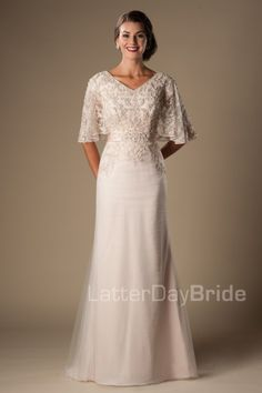 Modest sheath wedding gowns available at LatterDayBride, and bridal dress  shop in Salt Lake City.