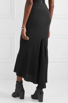 Rick Owens | Ribbed knit-trimmed crepe de chine maxi skirt | NET-A-PORTER.COM