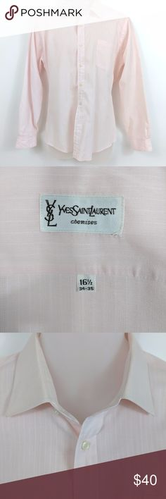 Yves Saint Laurent Men's Dress Shirt Check out this used Yves Saint Laurent men's dress shirt.   Luxury is even more accessible with this fine quality,  men's dress shirt in the color soft melon.  Size information: 16.5 34-35.  Condition Notes: Excellent condition. No stains, smells, or fabric damage.  We will consider all reasonable offers. Thanks for shopping with us! Yves Saint Laurent Shirts Dress Shirts