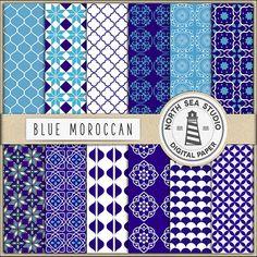 Moroccan Digital Paper Moroccan Tiles Scrapbook by NorthSeaStudio