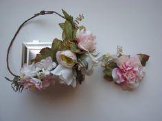 Flower Crown Asymmetrical Crown Vintage Wedding by jewelfeathers