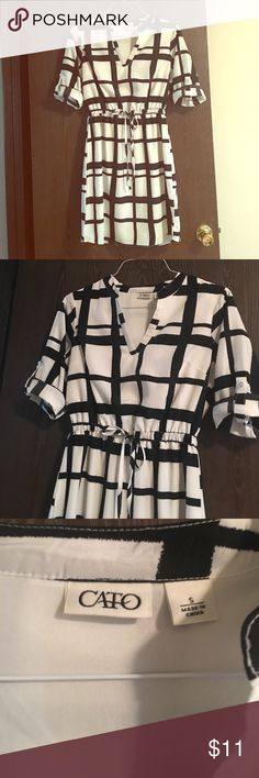 B&W dress by Cato Fashions • size s 😍 Black & white dress by Cato • hits just below the knee • draw string to enhance waist • size small • comfortable • dress it up or wear it down • perfect condition • Cato Dresses Midi