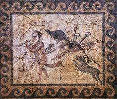 Roman Mosaic. Evil Eye Mosaic. Antakya (Antiochia), Turkey.
