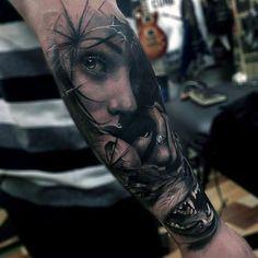 53f3a95c2 Masculine Female Portrait With Wolf Mens Forearm Sleeve Tattoo  #tattoosmensforearm