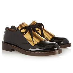 Don't be afraid to be androgynous. Patent brogues for the perfect masculine, yet feminine look. From Marni