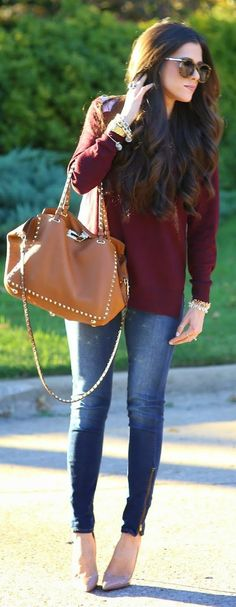 Easy Fall Outfit Ideas - Burgundy + Casually.
