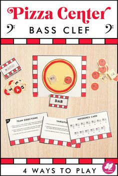 Your band, orchestra, and piano students will love this music center for learning the notes on the bass clef staff. Music classes love the pizza theme and different ways to play. Just print, cut, and laminate to use it year after year! They make excellent sub plans for instrumental and choral students. It's a great one to use year after year in your centers rotations. #sillyomusic Staff Music, Fun Music, Music Class, Music Games, Music Education, Elementary Music, Upper Elementary, Bass Clef Notes, Teaching Orchestra