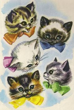 kitsch kittens are sickeningly cute :-) from kitschy living tumblr. illustration by Marge Opitz, 1953.