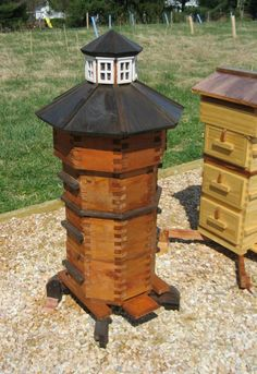 Octagonal Warre Hive in a variety of wood options. Includes 4 comb boxes, 1 bottom board with adjustable feet, 1 quilt box, 1 ornate roof, 1 inverted feeder tray, 40 top bars, and a getting started…