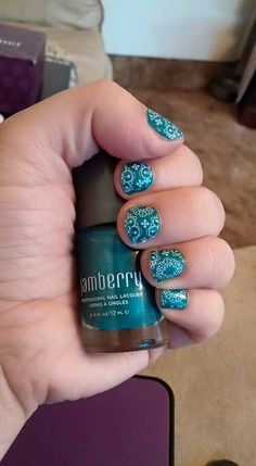 Amazon lacquer with clear wrap Whisper layered on top. So easy to do with #jamberrynails. www.jamberrynails.net